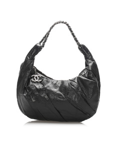 Chanel Lambskin Leather Hobo Bag Black