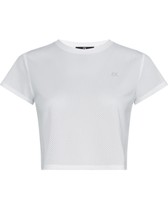 Mesh Cropped Ss Tee Bright White