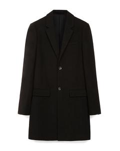 Greenwood Single Breasted Wool Blend Coat Black