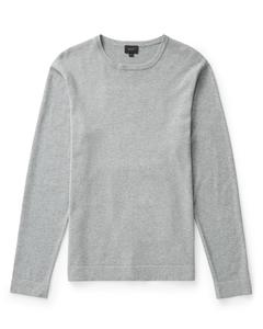 Sutton Cotton Knitted Crew Neck Grey Melange