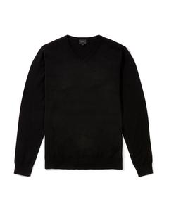 Somers V-neck Cotton Jumper Black