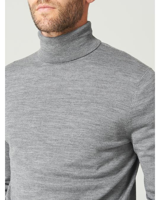 MVP Bromley Merino Wool Roll Neck Jumper Grey Melange