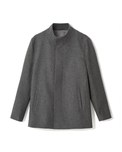 Lomas Funnel Neck Wool Mix Coat Grey Melange