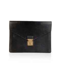 Louis Vuitton Vintage Black Epi Leather Senateur Portfolio Briefcase