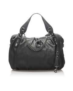 Gucci Icon Bit Leather Satchel Black