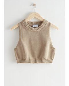 Cropped Knit Top Beige