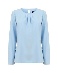 Henbury Womens/ladies Pleat Front Long Sleeve Blouse
