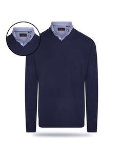Pierre Cardin Mock Pullover Blau