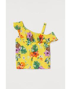 One-shoulderblouse Geel/tropische Bloemen