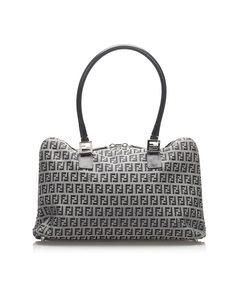 Fendi Zucchino Canvas Handbag Gray
