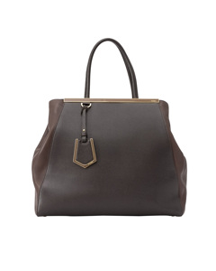 Fendi Large 2jours Leather Tote Bag Brown
