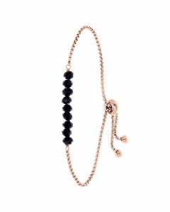 Stalen Roseplated Armband Met Zwarte Kralen