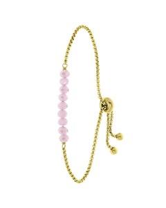 Stalen Goldplated Armband Met Roze Kralen