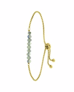Armband aus vergoldetem Edelstahl mit hellgrünen Perlen