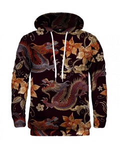 Mr. Gugu & Miss Go Japanese Dragon Unisex Hoodie Onyx Black