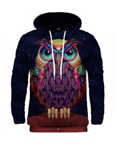 Mr. Gugu & Miss Go Space Owl Unisex Hoodie Licorice Black