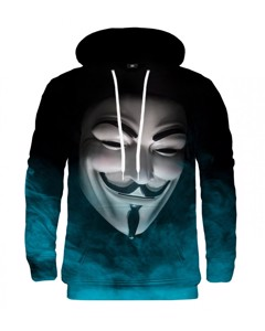 Mr. Gugu & Miss Go Anonymous Face Unisex Hoodie Mystery Cyan