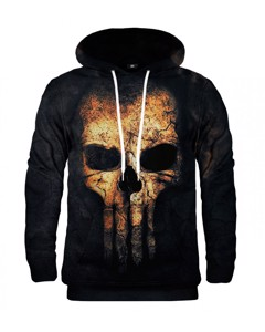 Mr. Gugu & Miss Go Punisher Face Unisex Hoodie Lincoln Black