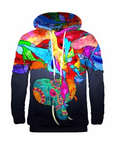 Mr. Gugu & Miss Go Colorful Elephant Unisex Hoodie Animal Rainbow