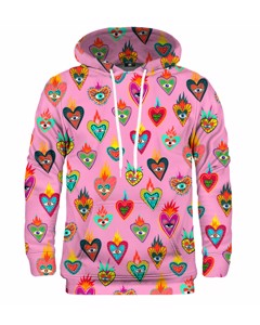 Mr. Gugu & Miss Go Pink Mexican Hearts Unisex Hoodie Exotic Pink