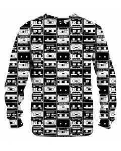 Mr. Gugu & Miss Go Retro Audio Tapes Unisex Sweater Black And White