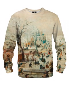 Mr. Gugu & Miss Go Winter Landscape With Skaters Unisex Sweater Ivory Beige