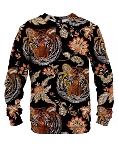 Mr. Gugu & Miss Go Tiger Pattern Unisex Sweater Hickory Brown