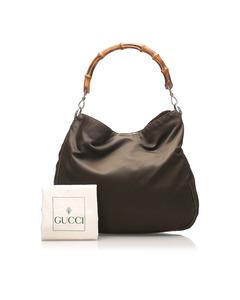 Gucci Bamboo Nylon Shoulder Bag Brown
