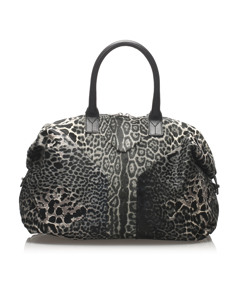 Ysl Leopard Easy Pony Hair Handbag Black