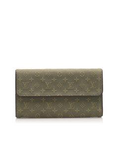 Louis Vuitton Monogram Mini Lin Porte Tresor International Wallet Gray