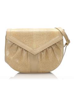 Ysl Lizard Leather Shoulder Bag Brown