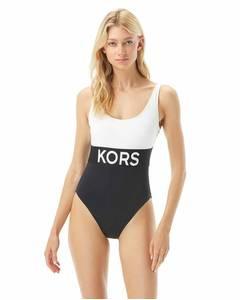 Badeanzug Swimwear Solid Logo Scoop Back
