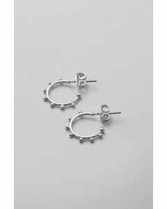 Tiny Dot Hoop Earrings Silver