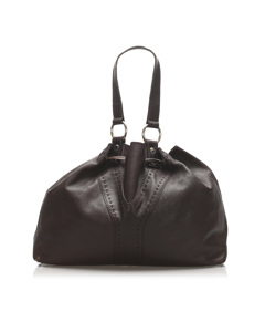 Ysl Double Sac Y Leather Tote Bag Brown