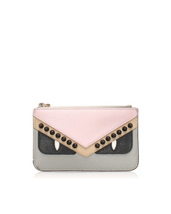 Fendi Monster Leather Coin Pouch Pink