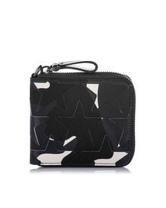 Valentino Camo Star Zip Around Canvas Small Wallet Black