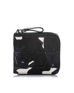 Valentino Camo Star Zip Around Canvas Small Wallet Black