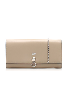 Fendi By The Way Leather Wallet On Chain Gray