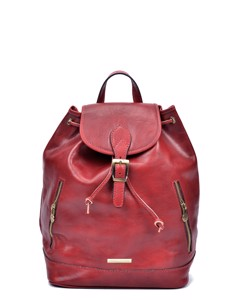 Leather Backpack Rosso
