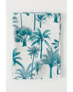 Mönstrad Bomullsduk Naturvit/palmer
