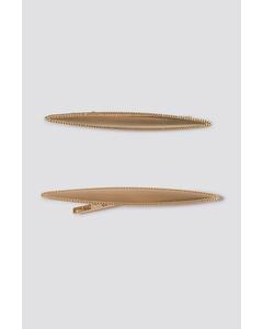 2-pack Slim Hairclips Gold