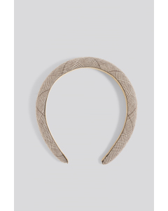 Padded Checked Hair Hoop Brown
