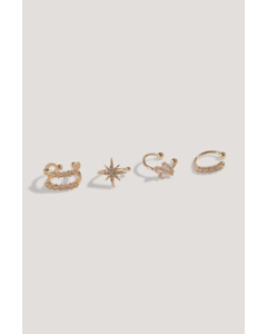 Double Pack Sparkling Ear Cuff Set Gold