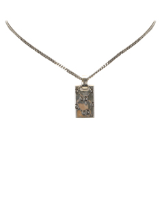 Gucci Ghost Tag Pendant Necklace Silver