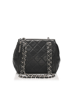 Chanel Matelasse Lambskin Leather Shoulder Bag Black