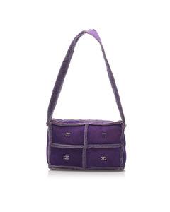 Chanel Choco Bar Patchwork Wool Shoulder Bag Purple
