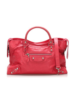 Balenciaga Motocross Giant First Leather Satchel Pink