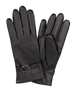 Ladies Glove Goatskin/strap W Buckle Black