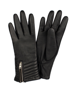 Ladies Glove Sheepskin Touch Metal Zip