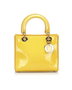 Dior Lady Dior Patent Leather Handbag Yellow